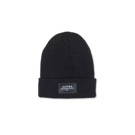 Supra Accessories ICON INTERNATIONAL BEANIE Black/Black/White Hats | CA-38854