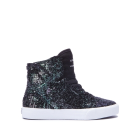 Supra Kids SKYTOP Black Sequin/White High Top Shoes | CA-15859