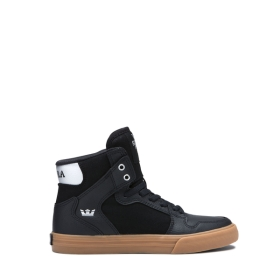 Supra Kids VAIDER Black/Silver/white High Top Shoes | CA-10812