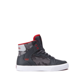 Supra Kids VAIDER Dk. Grey Camo/white High Top Shoes | CA-87199