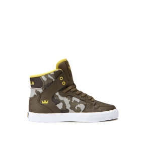 Supra Kids VAIDER Olive Camo/white High Top Shoes | CA-34713