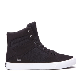 Supra Mens ALUMINUM Black/white High Top Shoes | CA-58751