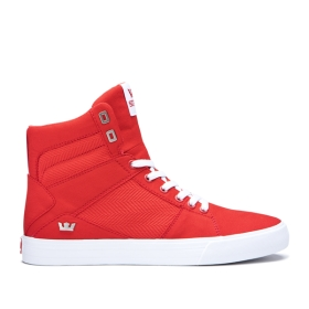 Supra Mens ALUMINUM Risk Red/white High Top Shoes | CA-36504