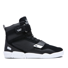 Supra Mens BREAKER Black/Silver/white High Top Shoes | CA-42141