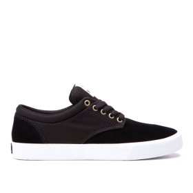 Supra Mens CHINO Black/white/White Low Top Shoes | CA-90111