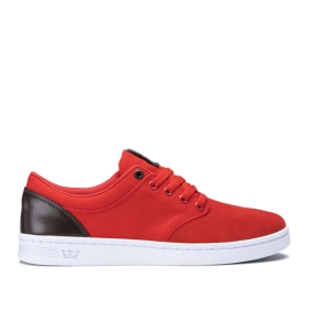 Supra Mens CHINO COURT Red/Gray Low Top Shoes | CA-80085