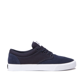Supra Mens CHINO Navy/White Low Top Shoes | CA-93337