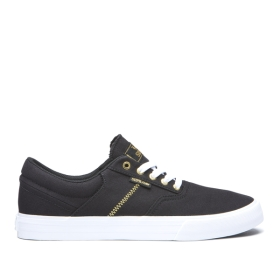 Supra Mens COBALT Black/Gold/white Low Top Shoes | CA-78982