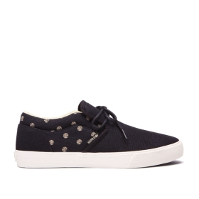 Supra Mens CUBA Black/Mojave/bone Low Top Shoes | CA-79124