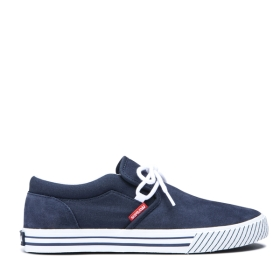 Supra Mens CUBA Navy/White/white Low Top Shoes | CA-44991