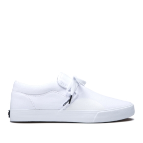 Supra Mens CUBA White Skate Shoes | CA-84947