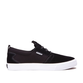Supra Mens FLOW Black/Black/white Skate Shoes | CA-61131
