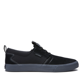 Supra Mens FLOW Black/dk Grey Low Top Shoes | CA-80886