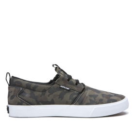 Supra Mens FLOW Camo/White Skate Shoes | CA-50809
