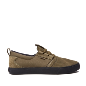 Supra Mens FLOW Olive/Black Low Top Shoes | CA-59767