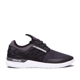 Supra Mens FLOW RUN EVO Black/Dk Grey/white Low Top Shoes | CA-23722