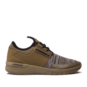 Supra Mens FLOW RUN Olive Multi/olive Low Top Shoes | CA-98890