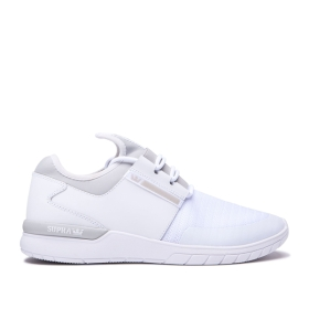 Supra Mens FLOW RUN White/Lt Grey/white Low Top Shoes | CA-83933