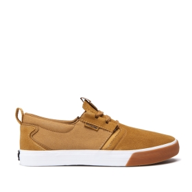 Supra Mens FLOW Tan/White/Gum Low Top Shoes | CA-61021