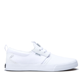 Supra Mens FLOW White/white/Gum Skate Shoes | CA-97928