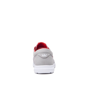 Supra Mens HAMMER RUN Lt. Grey/Risk Red/white Low Top Shoes | CA-55326