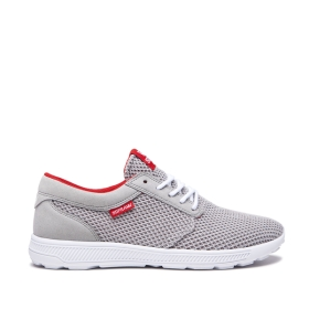 Supra Mens HAMMER RUN Lt. Grey/Risk Red/white Trainers | CA-31781