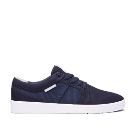 Supra Mens INETO Navy/white Low Top Shoes | CA-28931