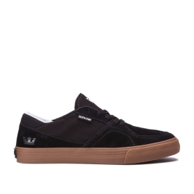 Supra Mens MELROSE Black/gum Low Top Shoes | CA-97954