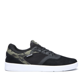 Supra Mens SAINT Black/Camo/white Skate Shoes | CA-67229