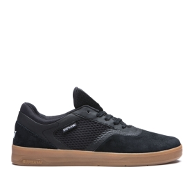 Supra Mens SAINT Black/gum Low Top Shoes | CA-93539