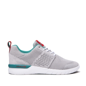 Supra Mens SCISSOR Lt. Grey/Teal/white Low Top Shoes | CA-47512