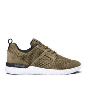 Supra Mens SCISSOR Olive/Black/white Low Top Shoes | CA-88287