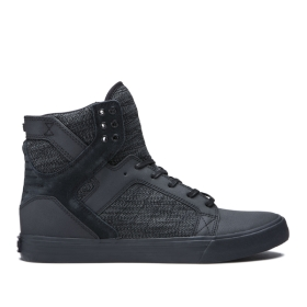 Supra Mens SKYTOP Black/Dk Grey/black High Top Shoes | CA-55615