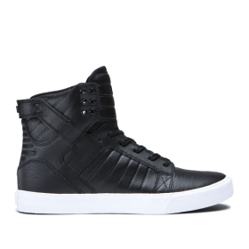 Supra Mens SKYTOP Black/White High Top Shoes | CA-78727