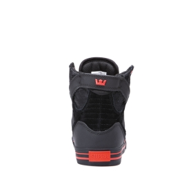 Supra Mens SKYTOP Black/black/Risk Red High Top Shoes | CA-58413