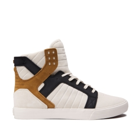 Supra Mens SKYTOP Bone/Black/bone High Top Shoes | CA-49368