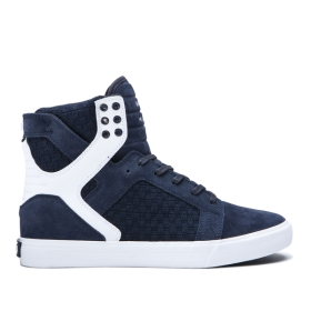 Supra Mens SKYTOP Navy/Navy/white High Top Shoes | CA-86727