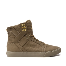 Supra Mens SKYTOP Olive High Top Shoes | CA-34341