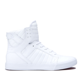 Supra Mens SKYTOP White/White High Top Shoes | CA-58307
