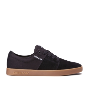 Supra Mens STACKS II Black/gum Low Top Shoes | CA-62088