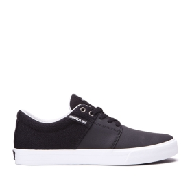 Supra Mens STACKS II VULC Black/Cool Grey/white Low Top Shoes | CA-65605