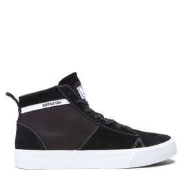 Supra Mens STACKS MID Black/white High Top Shoes | CA-96865
