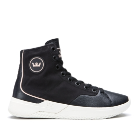 Supra Mens STATIK Black/bone High Top Shoes | CA-83179