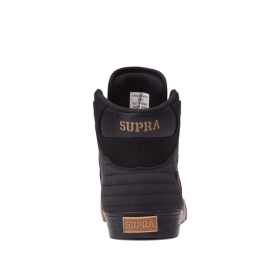 Supra Mens VAIDER Black/Black/gum High Top Shoes | CA-54060