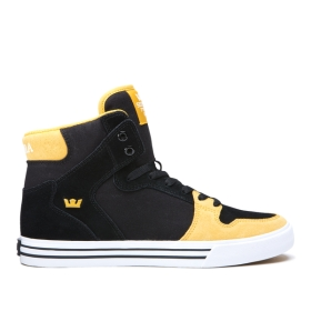 Supra Mens VAIDER Black/Golden/white High Top Shoes | CA-65135