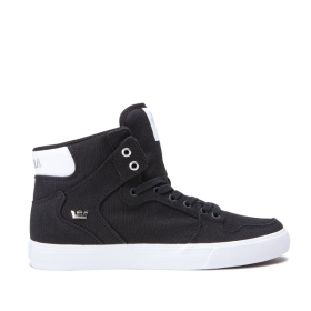 Supra Mens VAIDER Black/Silver/white High Top Shoes | CA-13875