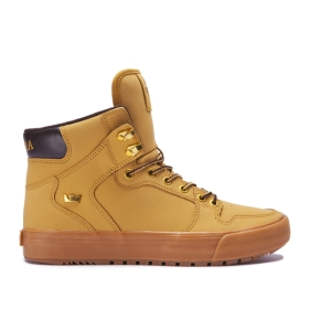 Supra Mens VAIDER COLD WEATHER Amber Gold/Light Gum High Top Shoes | CA-28526