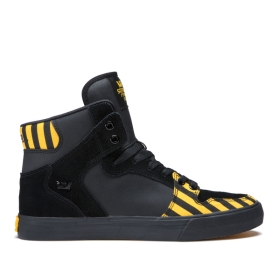 Supra Mens VAIDER Caution/Black/black High Top Shoes | CA-49772