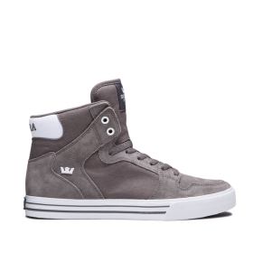 Supra Mens VAIDER Charcoal/white High Top Shoes | CA-62492