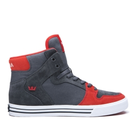 Supra Mens VAIDER Dk Grey/Risk Red/white High Top Shoes | CA-56845